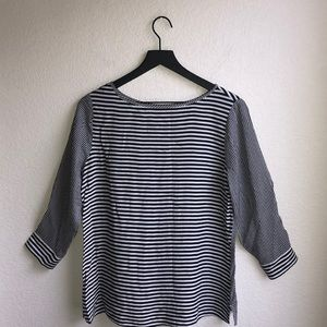 Cato Black/White Striped 3/4 Sleeve Top Size S